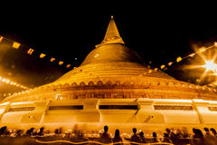 The Golden Pagoda - PhrapathomChedi. The exotic scene of beautiful golden chedi PhrapathomChedi at Nakornpathom Thailand on Vasakabuja Day Stock Photos