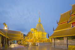 Golden pagoda of popular temple. Wat Phra That Doi Suthep, Popular temple in Chiang Mai, Thailand Stock Photo