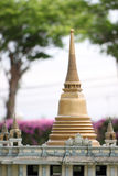 Golden pagoda in religion buddhism. Stock Image
