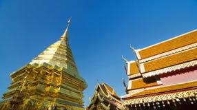 Golden pagoda at The Royal temple of Chiangmai Royalty Free Stock Photo