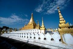 Golden Pagoda in Sanda Muni Paya in Myanmar. Stock Image