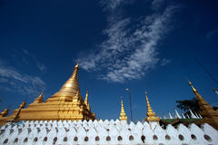 Golden Pagoda in Sanda Muni Paya in Myanmar. Stock Images