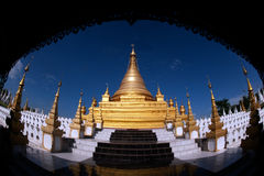Golden Pagoda in Sanda Muni Paya in Myanmar. Royalty Free Stock Photo