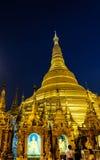 Golden pagoda in Shwedagon. Golden pagoda at night time in Shwedagon of Myanmar Royalty Free Stock Images