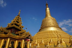 The golden pagoda, Shwemawdaw Pagoda Royalty Free Stock Photography