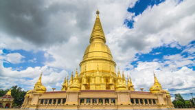Golden Pagoda Sri Vieng Chai Of Lamphun, Thailand (pan shot) stock video