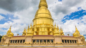 Golden Pagoda Sri Vieng Chai Of Lamphun, Thailand (zoom out) stock video footage