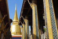 Golden Pagoda in The Temple of Emerald Buddha. Located in Grand Place, Bangkok Thailand Stock Photo
