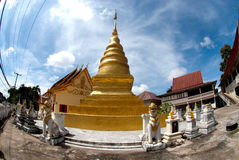 Golden pagoda in temple at Northern of Thailand. Royalty Free Stock Image