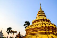 Golden Pagoda in a temple thailand at northen of thailand Stock Images