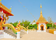 Golden pagoda at the Thai temple, Khonkaen Thailand. The Golden pagoda at the Thai temple, Khonkaen Thailand Royalty Free Stock Photography
