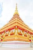 Golden pagoda at the Thai temple, Khonkaen Thailand. The Thai temple style, Khonkaen Thailand Royalty Free Stock Photos