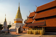Golden Pagoda in the Thai Temple of the North of Thailand royalty free stock photos