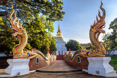 Golden pagoda in Thai temple Stock Photo