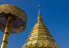 The golden pagoda Thai , Thai arts. Royalty Free Stock Images