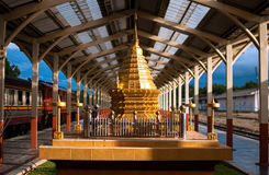 Golden pagoda. In train station Stock Image