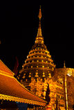 Golden pagoda of wat Doi Suthep in night. Scene with nice light Stock Photos