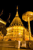 Golden pagoda of Wat Doi Suthep in night Royalty Free Stock Photos