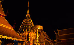 Golden pagoda of wat Doi Suthep in night H. Golden pagoda of wat Doi Suthep in night scene with nice light horizontal shot Stock Photography