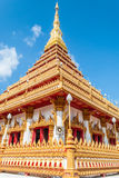 Golden pagoda at Wat Nong Wang public temple and blue sky, Khonk Stock Photo