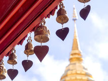 Golden pagoda of Wat Phra That Doi Suthep under cloudy blue sky Stock Photos