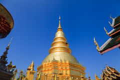 Golden Pagoda at Wat Phra That Hariphunchai in Lamphun province, Royalty Free Stock Image