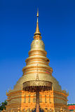 Golden Pagoda at Wat Phra That Hariphunchai in Lamphun province, Royalty Free Stock Photography