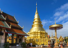 Golden pagoda in wat phra that hariphunchai temple Royalty Free Stock Images