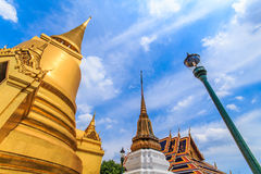 Golden pagoda at Wat Phra Kaew in a new perspective . Bangkok's most famous landmark was built 1782. Within the palace complex are several impressive buildings royalty free stock photography