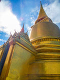 Golden Pagoda at Wat Phra Keaw, Bangkok. Sky and Golden Pagoda at Wat Phra Keaw, Bangkok, Thailand Stock Photography