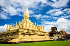 The golden pagoda wat Phra That Luang in Vientiane. Stock Photo