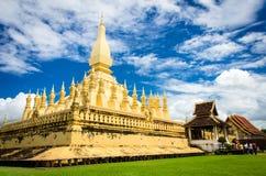The golden pagoda wat Phra That Luang in Vientiane. Stock Photo