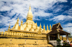 The golden pagoda wat Phra That Luang in Vientiane. Royalty Free Stock Photo