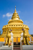 Golden Pagoda at Wat Phra That Sri Chom Thong. Thailand royalty free stock photo