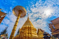 Golden pagoda in wat Phrathat Doi Suthep  Chiang Mai. Golden pagoda in wat Phrathat Doi Suthep under blue sky.Temple is tourist attraction of Chiang Mai Royalty Free Stock Image