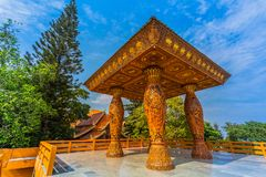Golden pagoda in wat Phrathat Doi Suthep  Chiang Mai. Golden pagoda in wat Phrathat Doi Suthep under blue sky.Temple is tourist attraction of Chiang Mai Stock Photo