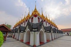 Golden pagoda in Wat Ratcha Nadda Temple. Bangkok , Thailand - Sep 21, 2017: Golden pagoda in Wat Ratcha Nadda Temple Royalty Free Stock Photo