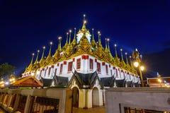 Golden pagoda in Wat Ratcha Nadda Temple. Bangkok , Thailand - Sep 21, 2017: Golden pagoda in Wat Ratcha Nadda Temple Royalty Free Stock Photography