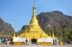 Golden Pagoda at Wat sao roi ton. Myanmar Royalty Free Stock Image