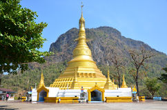 Golden Pagoda at Wat sao roi ton. Myanmar Stock Photos