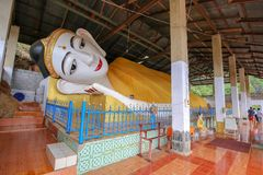 Golden Pagoda At Wat Sao Roi ton in Payatongsu, Myanmar. Near Thailand and Myanmar Border Crossing Points with true nature and mountain view Royalty Free Stock Photography