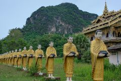 Golden Pagoda At Wat Sao Roi ton in Payatongsu, Myanmar. Near Thailand and Myanmar Border Crossing Points with true nature and mountain view Stock Photo