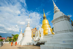 Golden pagoda wat suandok chiangmai Thailand Stock Photo
