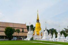 Golden pagoda in wat suandok temple, Chiang mai, Thailand Stock Image