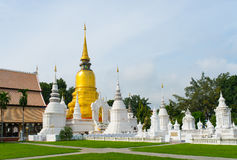 Golden pagoda in wat suandok temple, Chiang mai, Thailand Royalty Free Stock Photography