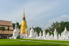 Golden pagoda in wat suandok temple, Chiang mai, Thailand Stock Photography