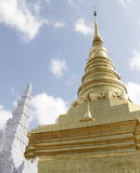 Golden Pagoda and White Stupa royalty free stock photography