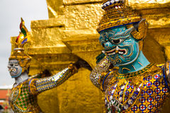 The Golden Pagoda and Yak statue Stock Photo