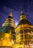 The golden pagodas in Thailand royalty free stock photo