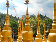 Golden pagodas. Golden pagodas in the temple Royalty Free Stock Images